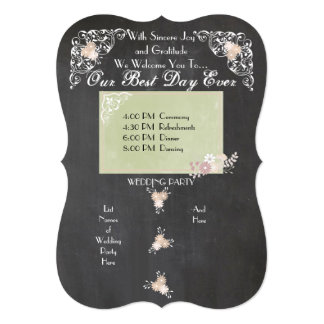 Country Floral Chalkboard Wedding Programs 5x7 Paper Invitation Card