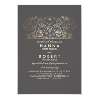 Country Floral - Eternal Romance Gold Wedding Card