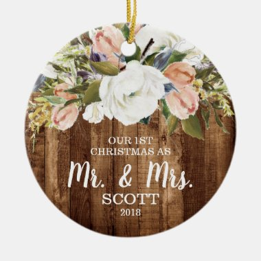 Country Floral First Christmas Married Mr & Mrs Ceramic Ornament
