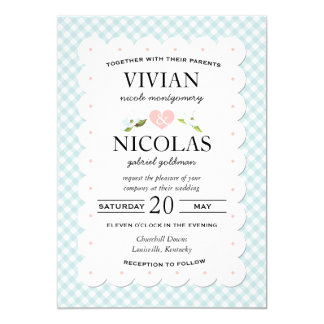 Country Floral Gingham Pink Blue Wedding 5x7 Paper Invitation Card