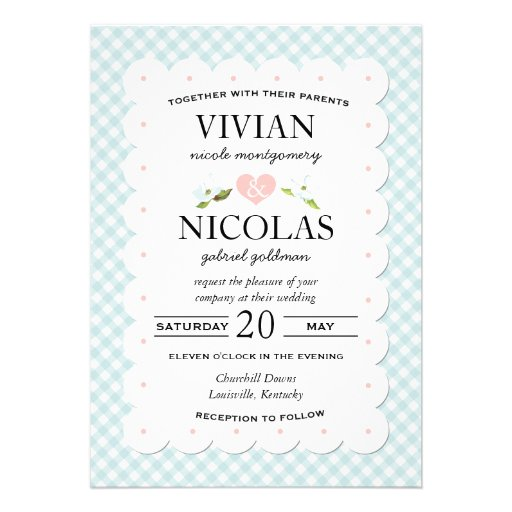 Country Floral Gingham Pink Blue Wedding 5 X 7 Invitation Card