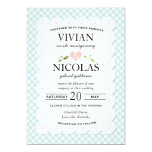 """Country Floral Gingham Pink Blue Wedding 5"""" X 7"""" Invitation Card"""