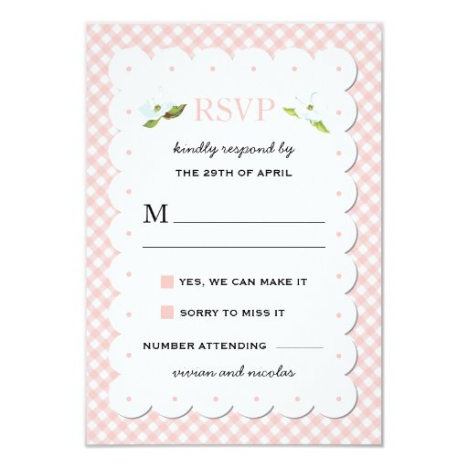 Country Floral Gingham Pink Blue Wedding RSVP Card