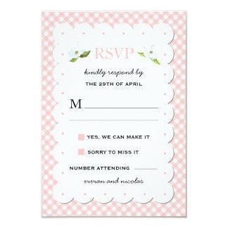 Country Floral Gingham Pink Blue Wedding RSVP Card