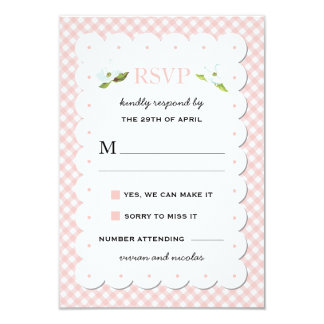 Country Floral Gingham Pink Blue Wedding RSVP 3.5x5 Paper Invitation Card