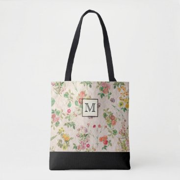 Beach Themed Country Floral Monogram Tote Bag