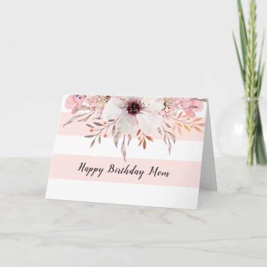 Country Floral Pink White Stripes Birthday Card Zazzle