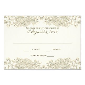 Country Floral Vintage Lace Design Response Card