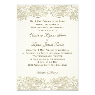 Country Floral Vintage Lace Design Wedding Card