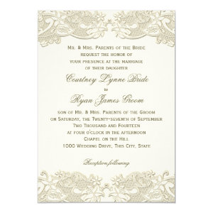Country Floral Vintage Lace Design Wedding 5x7 Paper Invitation Card