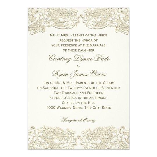 Country Floral Vintage Lace Design Wedding Invitation  Zazzle.com