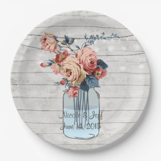 Country Floral Wood Mason Jar Wedding Paper Plate