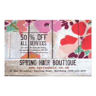 Country Floral Wood Promotional Customer Coupon Flyer