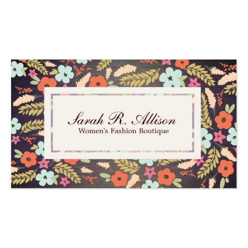 Country Flowers Fashion Wood Grain Look Business Cards