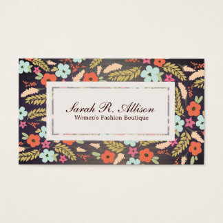 Country Flowers Fashion Wood Grain Look Business Card