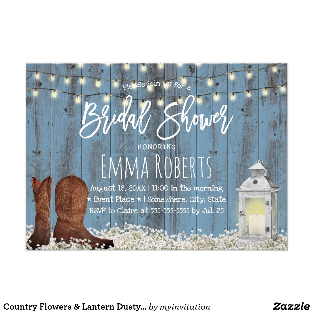 Custom Country Flowers & Lantern Dusty Blue Bridal Shower Invitations