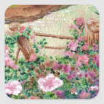Country Flowers Square Sticker
