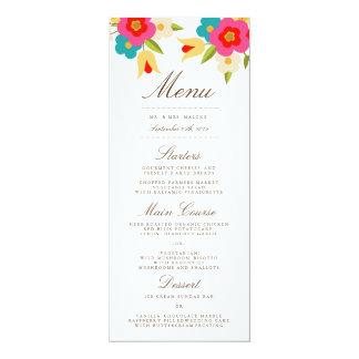 Country Flowers Wedding Dinner Menu Card