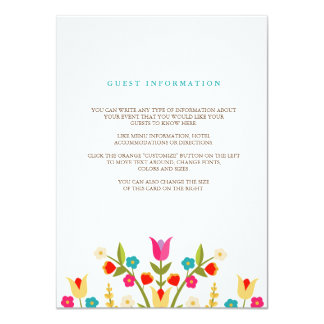 Country Flowers Wedding Insert Card