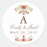 Country Flowers Wedding Monogram Classic Round Sticker