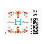 Country Flowers Wedding Monogram Postage