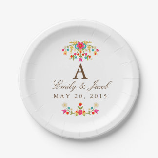 Country Flowers Wedding Monogram 7 Inch Paper Plate