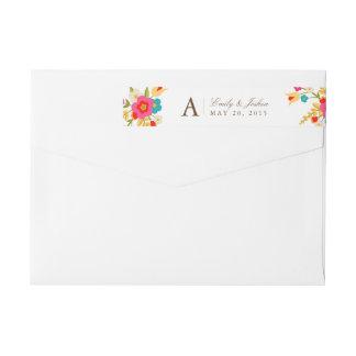 Country Flowers Wedding Monogram Wraparound Return Address Label
