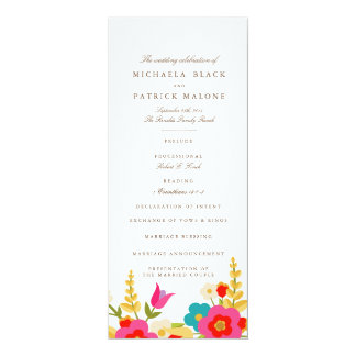 Country Flowers Wedding Programs Card