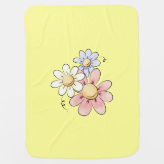 Country Flowers Yellow Unisex Swaddle Blanket