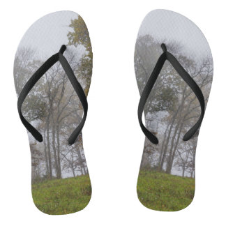 Country Foggy Fall Morning Flip Flops