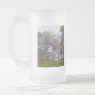 Country Foggy Fall Morning Frosted Glass Beer Mug