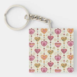 Country Folk Art Heart Pattern Key Chain