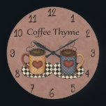 "Country Folk Art Kitchen Coffee Design Large Clock<br><div class=""desc"">This is a beautiful country kitchen coffee design that makes the perfect gift for any occasion.</div>"