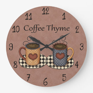 Country Folk Art Kitchen Coffee Design Large Clock