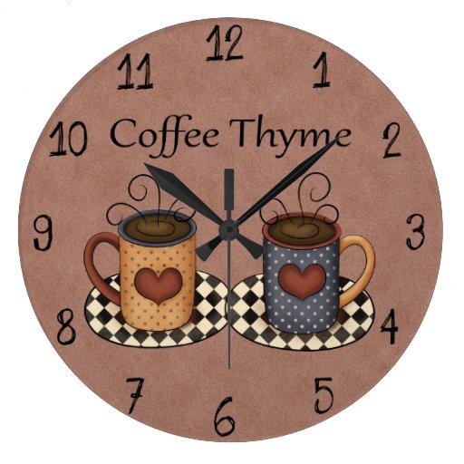Country Folk Art Kitchen Coffee Design Wall Clocks Zazzle
