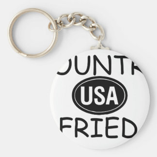 Country Fried Basic Round Button Keychain
