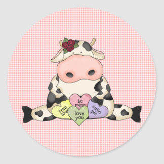 Country Fun Cow Valentine's Day Stickers Seals