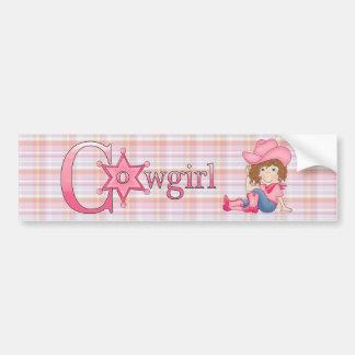 Country Fun Cowgirl Brown Hair Bumper Sticker Car Bumper Sticker