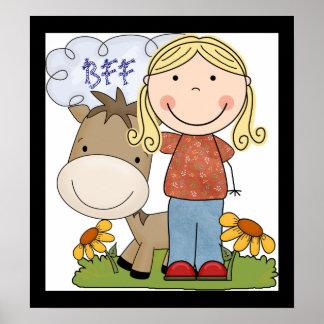 Country Fun Girl Horse BFF Poster Art Print