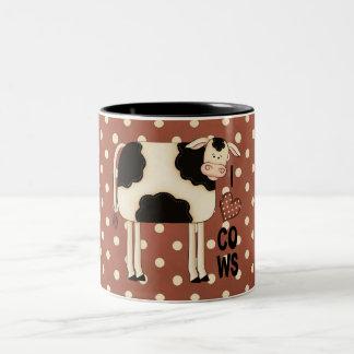 Country Fun I Love Cows Coffee Cup Two-Tone Coffee Mug