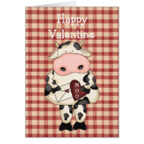Country Fun Moo Cow Valentine's Day Card