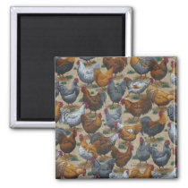 Country Fun Roosters & Hens Fridge Magnet