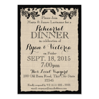 Country Garden Black with Burlap Rehearsal Dinner 5x7 Paper Invitation Card