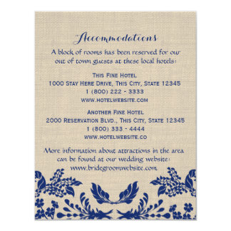 Country Garden Blue and Burlap Info Card