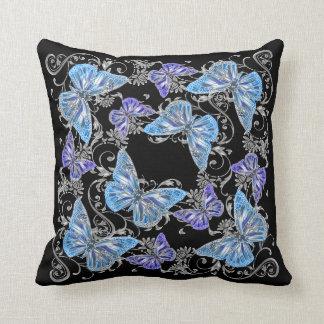 Country garden collection black aqua throw pillows