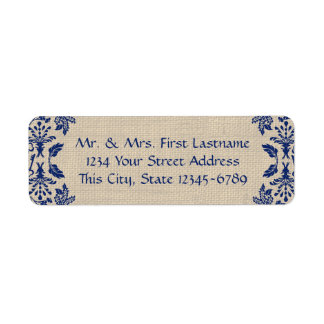 Country Garden Damask Blue and Burlap Label
