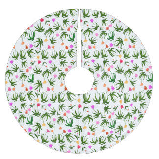 Country Garden Tulips Floral Christmas Tree Skirt