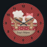 """Country Gingerbread Chefs Clock<br><div class=""""desc"""">Add fun to your kitchen or nook area with this cute country clock featuring two little gingerbread chefs in a bowl ready to help you out. Background is deep red and white polka dots. Text is &quot;Suzy Helpers&quot;. Easy to personalize, just press the &quot;customize it&quot; button to add/edit graphics and/or...</div>"""