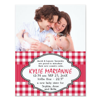 Country Gingham Baby Girl birth Announcement