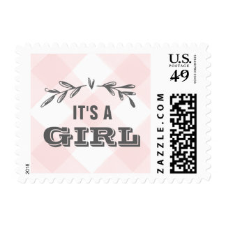 Country Gingham Baby Shower Postage